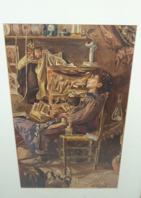 MARIO ROSSI GOUACHE OF YOUNG BOY IN CHAIR - 3