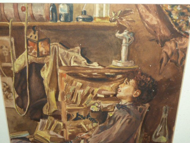 MARIO ROSSI GOUACHE OF YOUNG BOY IN CHAIR - 4