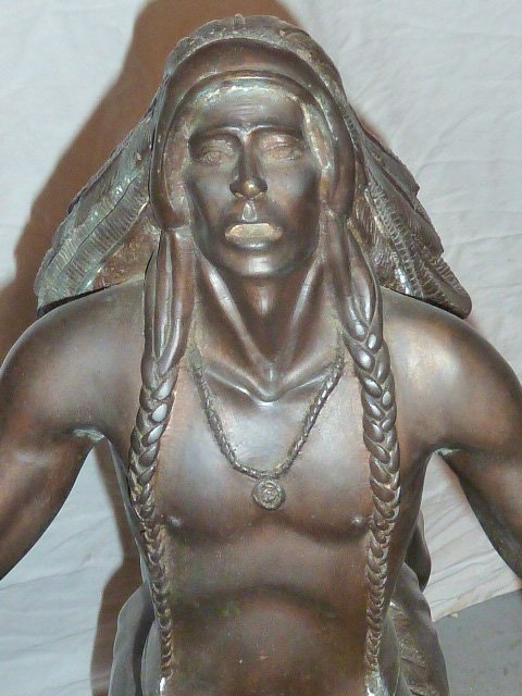 LARGE REMINGTON BRONZE NATIVE AMERICAN ON HORSE - 2