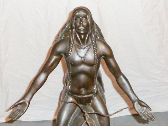 LARGE REMINGTON BRONZE NATIVE AMERICAN ON HORSE - 3