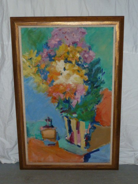 YUE GEE O/C MODERNE STILL LIFE FLOWERS ON TABLE