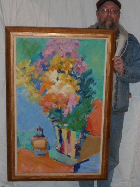 YUE GEE O/C MODERNE STILL LIFE FLOWERS ON TABLE - 6