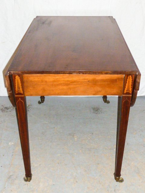 AMERICAN 1800'S DROP LEAF TABLE FEATHER FORM INLAY