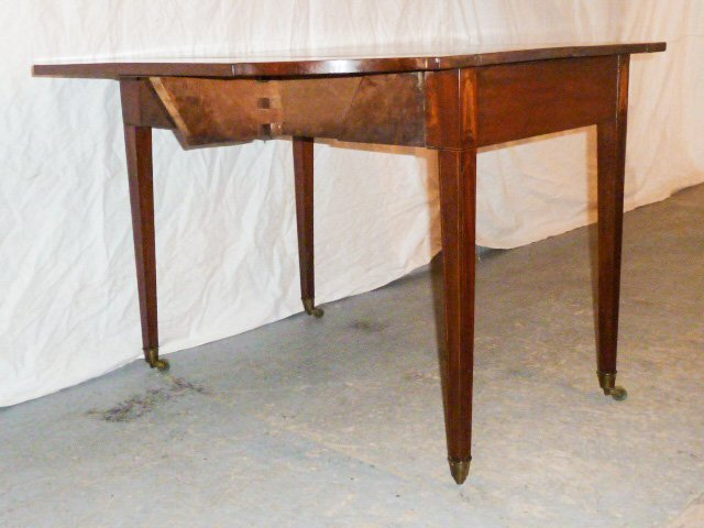 AMERICAN 1800'S DROP LEAF TABLE FEATHER FORM INLAY - 4