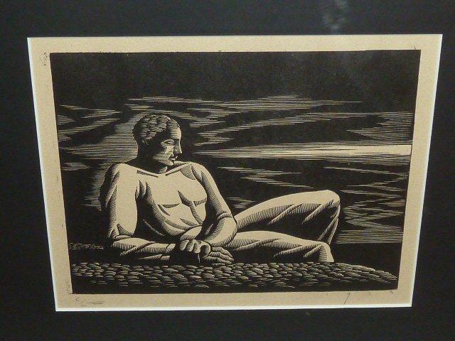 "WOOD CUTS ""ROWER"" & ""FAR HORIZON"" 1930'S - 7"