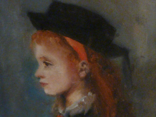 W.GLACKENS OIL ON BOARD PORTRAIT YOUNG GIRL WEARING HAT