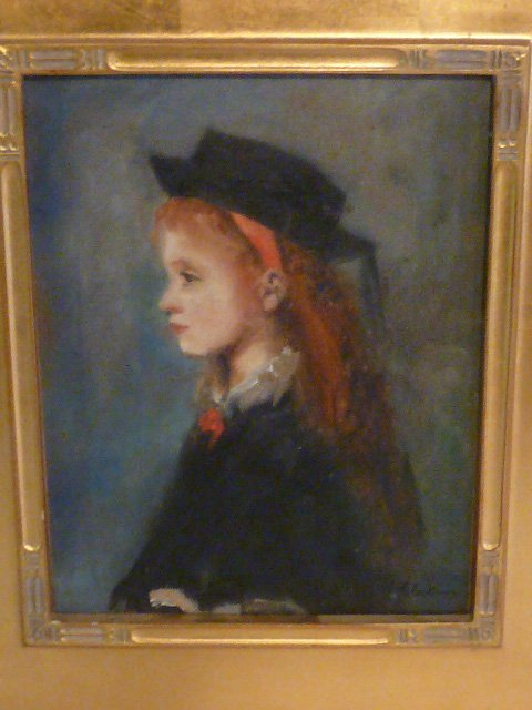 W.GLACKENS OIL ON BOARD PORTRAIT YOUNG GIRL WEARING HAT - 3