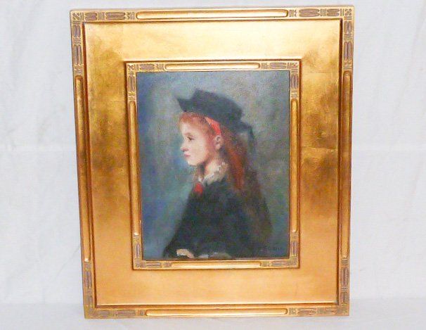 W.GLACKENS OIL ON BOARD PORTRAIT YOUNG GIRL WEARING HAT - 7