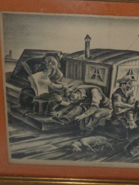 "HUGH BOTTS ETCHING ""ON THE DOCKS"" 1930'S - 2"