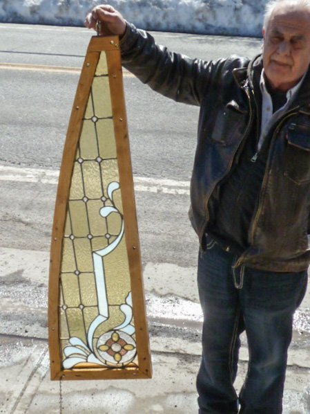 ANTIQUE STAINED GLASS WINDOW CUSTOM FRAME