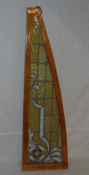 ANTIQUE STAINED GLASS WINDOW CUSTOM FRAME - 2