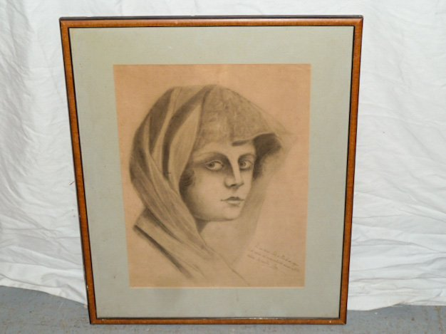 PENCIL DRAWING VEILED WOMAN WITH INSCRIPTION