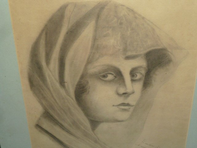 PENCIL DRAWING VEILED WOMAN WITH INSCRIPTION - 2