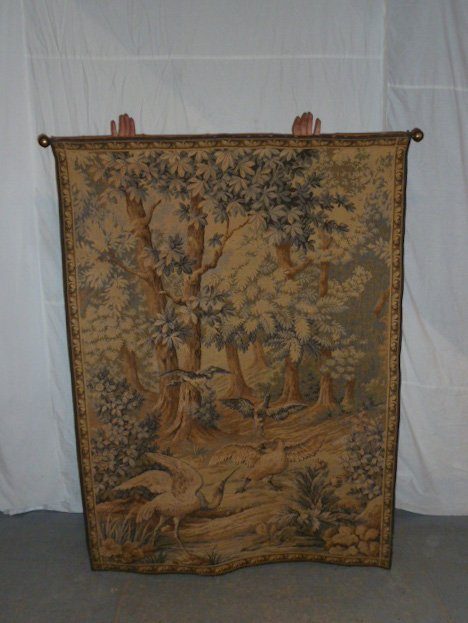 FRENCH TAPESTRY - LANDSCAPE WITH QUARRELING BIRDS