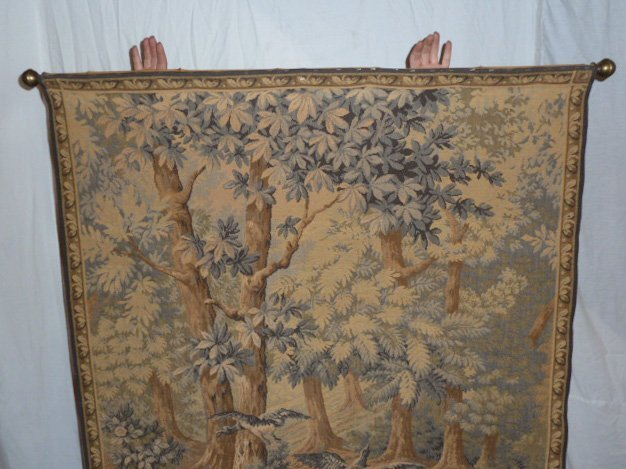 FRENCH TAPESTRY - LANDSCAPE WITH QUARRELING BIRDS - 2