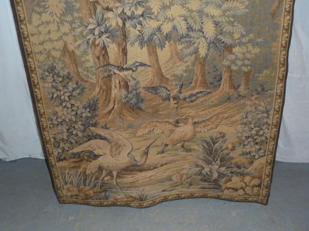 FRENCH TAPESTRY - LANDSCAPE WITH QUARRELING BIRDS - 3