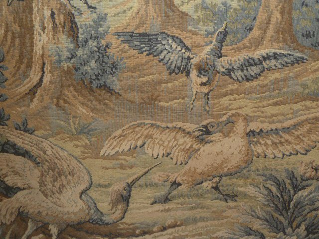 FRENCH TAPESTRY - LANDSCAPE WITH QUARRELING BIRDS - 4