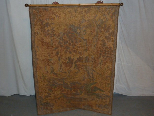 FRENCH TAPESTRY - LANDSCAPE WITH QUARRELING BIRDS - 5