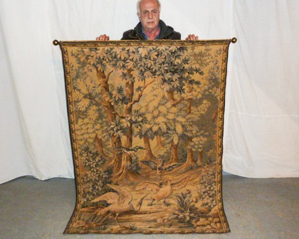 FRENCH TAPESTRY - LANDSCAPE WITH QUARRELING BIRDS - 6