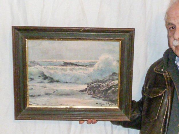 VINTAGE PRINT SEA SCAPE SIGNED ROBERT WOOD