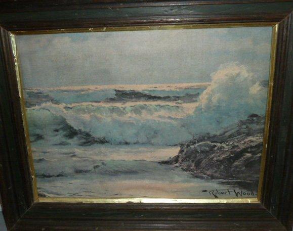 VINTAGE PRINT SEA SCAPE SIGNED ROBERT WOOD - 2