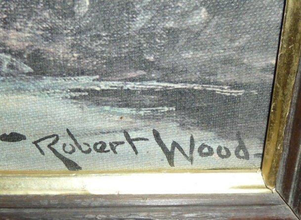 VINTAGE PRINT SEA SCAPE SIGNED ROBERT WOOD - 3