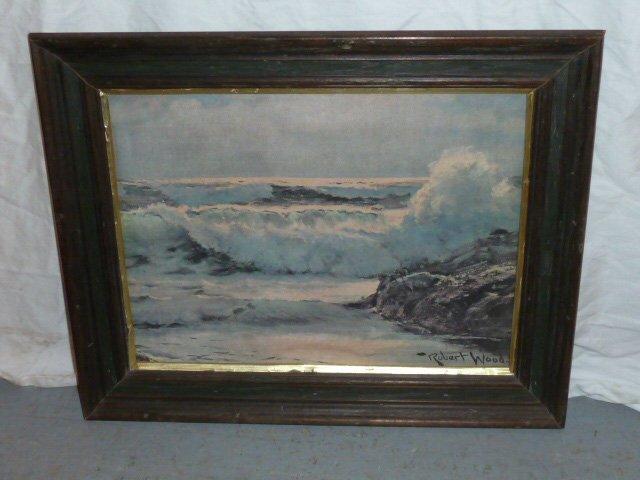 VINTAGE PRINT SEA SCAPE SIGNED ROBERT WOOD - 4
