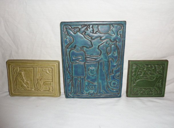 2 VINTAGE CERAMIC TILES W/FAIRYTALE SCENES & OTHER A