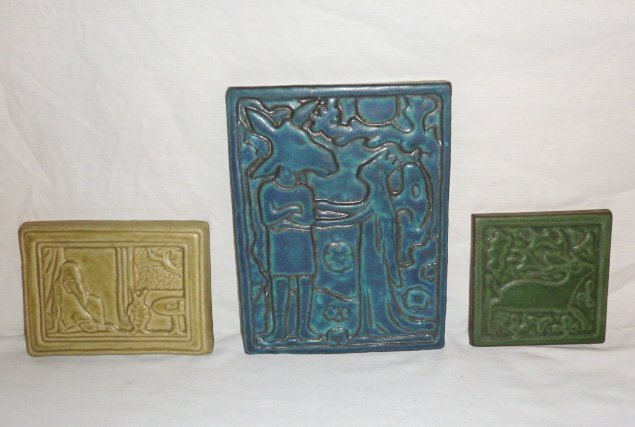 2 VINTAGE CERAMIC TILES W/FAIRYTALE SCENES & OTHER A - 8