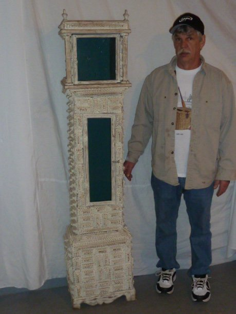 "LARGE SIZE 69"" TRAMP ART CLOCK CASE WHITE PAINT"