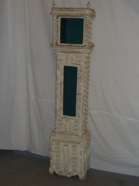 "LARGE SIZE 69"" TRAMP ART CLOCK CASE WHITE PAINT - 2"