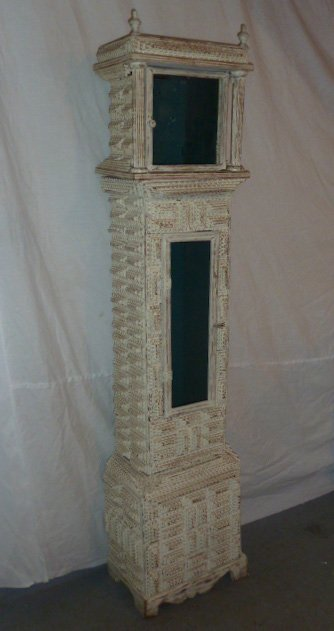 "LARGE SIZE 69"" TRAMP ART CLOCK CASE WHITE PAINT - 3"
