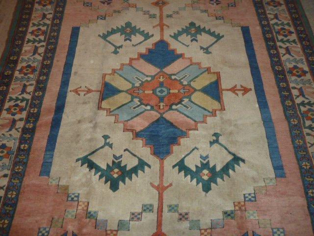 PERSIAN TRIBAL CARPET SEMI-ANTIQUE BLUE FLOWER BORDER