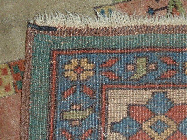 PERSIAN TRIBAL CARPET SEMI-ANTIQUE BLUE FLOWER BORDER - 3