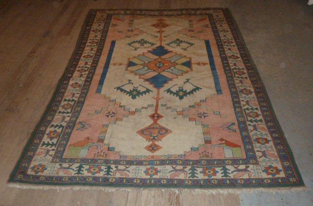 PERSIAN TRIBAL CARPET SEMI-ANTIQUE BLUE FLOWER BORDER - 4
