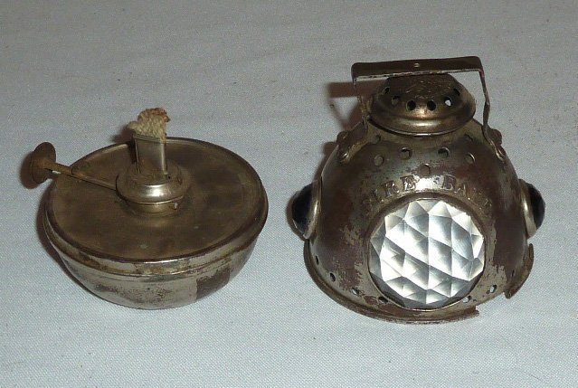 """RARE 1890 """"FIRE BALL"""" BICYCLE/MORORCYCLE LANTERN - 7"""