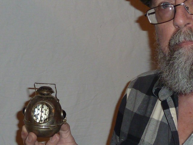 """RARE 1890 """"FIRE BALL"""" BICYCLE/MORORCYCLE LANTERN - 8"""