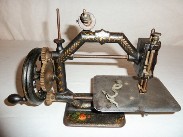 EARLY PAINT DECORATED MINIATURE SEWING MACHINE - 2