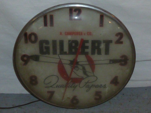 VINTAGE ADVERTISING CLOCK GILBERT QUALITY PAPERS