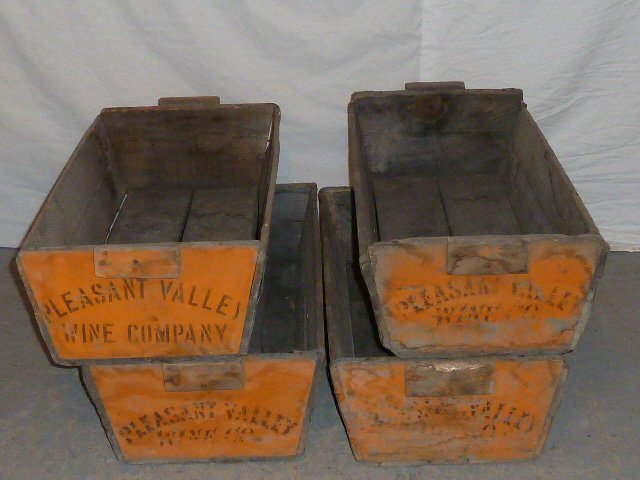 C1900 FOUR WOOD HANDLED BINS PLEASANT VALLEY WINE CO.