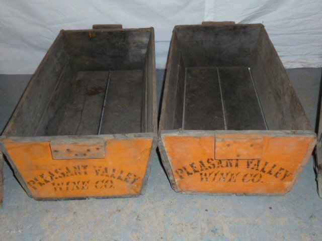C1900 FOUR WOOD HANDLED BINS PLEASANT VALLEY WINE CO. - 2