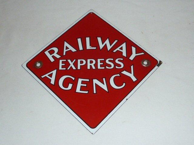 ORIG PORCELAIN RAILWAY EXPRESS AGENCY DIAMOND SIGN