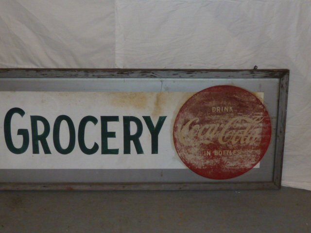 1950'S COCA-COLA DOUBLE BUTTON GROCERY TRADE SIGN - 3