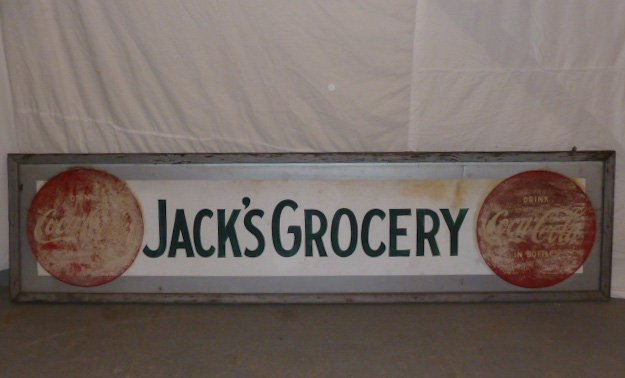 1950'S COCA-COLA DOUBLE BUTTON GROCERY TRADE SIGN - 4
