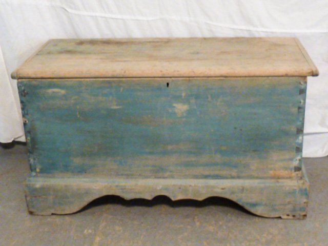 19TH C. SIX BOARD CHEST ON CUTOUT BASE OLD BLUE
