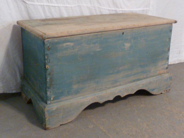 19TH C. SIX BOARD CHEST ON CUTOUT BASE OLD BLUE - 2