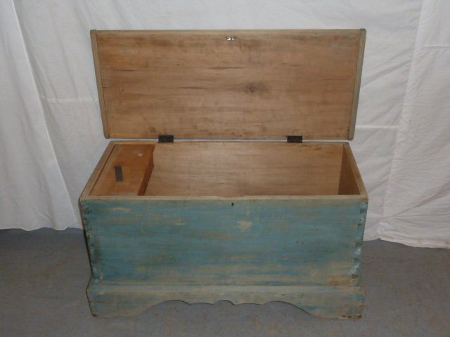 19TH C. SIX BOARD CHEST ON CUTOUT BASE OLD BLUE - 3