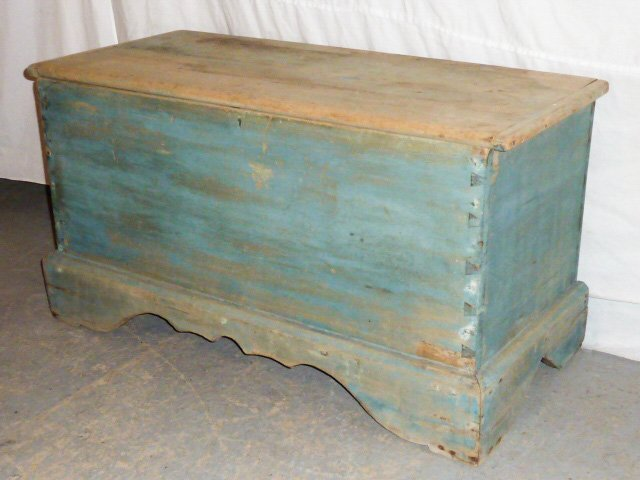 19TH C. SIX BOARD CHEST ON CUTOUT BASE OLD BLUE - 4