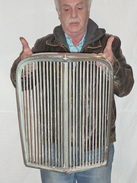 "VINTAGE CHROME GRILL FROM ANTIQUE CAR ""V"" SHAPED"
