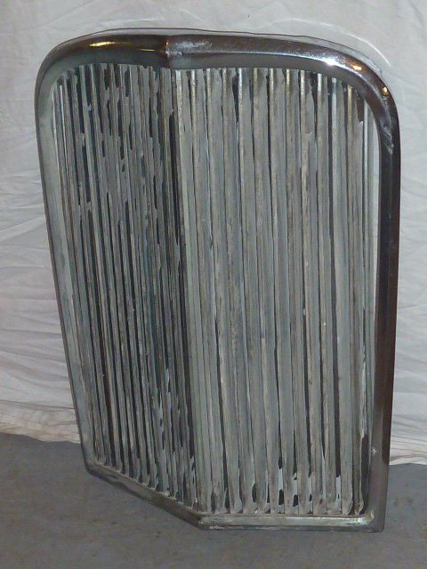 "VINTAGE CHROME GRILL FROM ANTIQUE CAR ""V"" SHAPED - 3"
